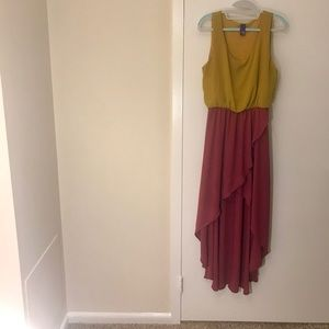 Mustard and Crimson high low dress!